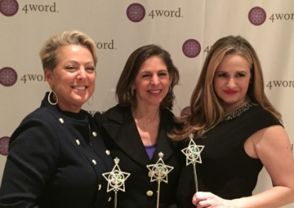 At the 4word gala with Founder Diane Paddison (center) and Baylor University associate professor Dr. Sarah-Jane Murray (right).